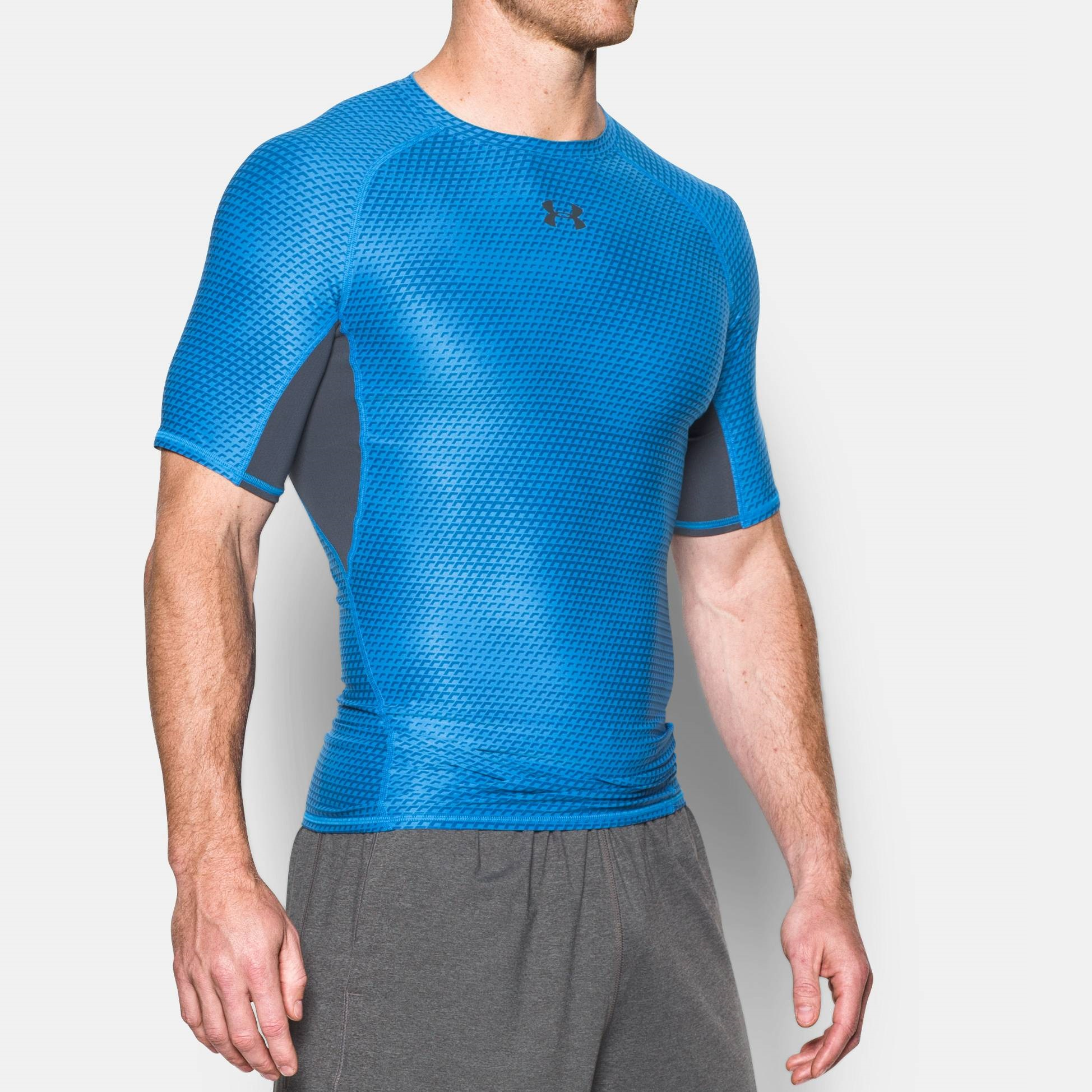 45275b51 Under Armour Mens Heatgear Armour Printed Short Sleeve Compression Shirt