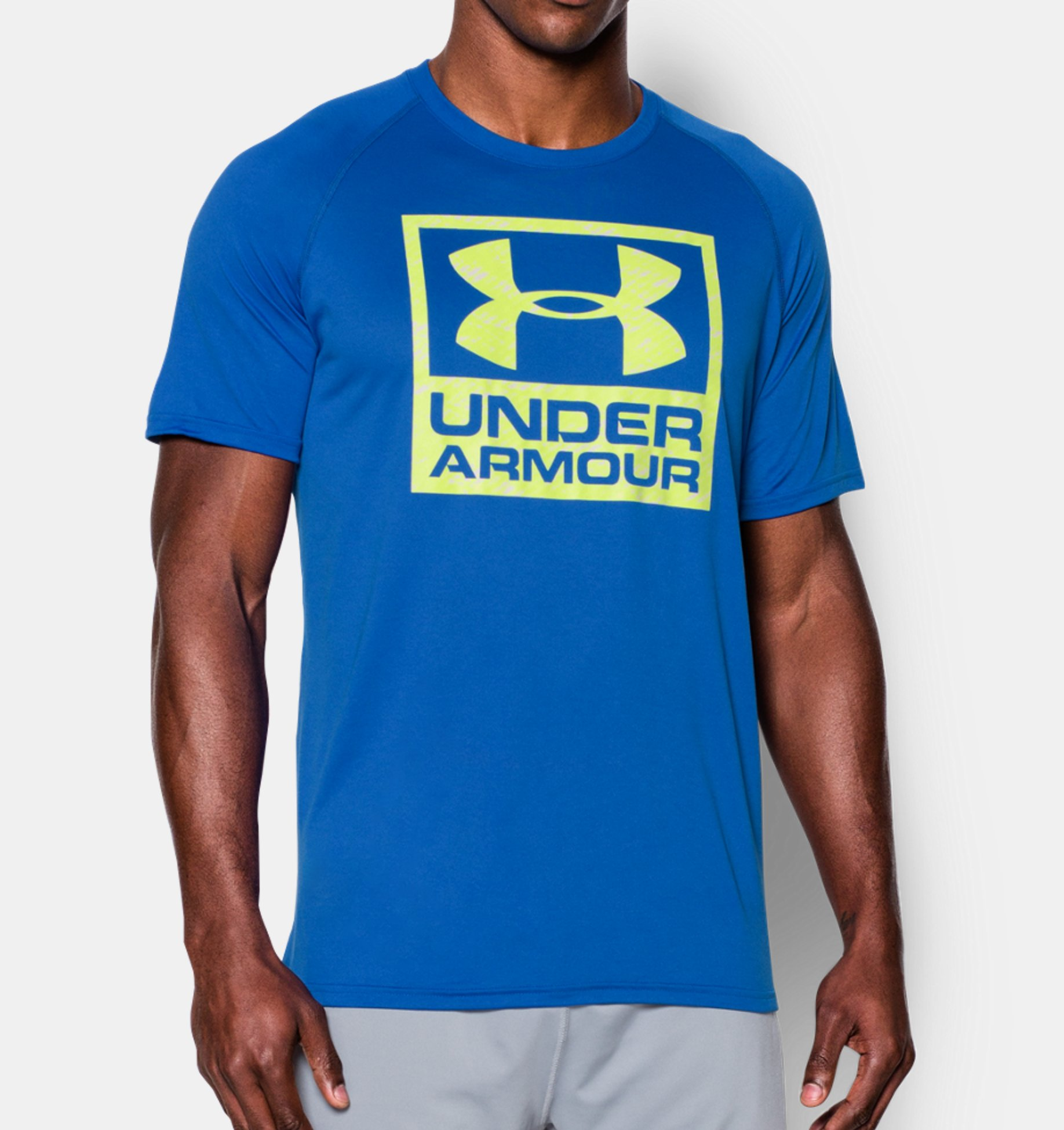 Clothing under armour tech boxed logo t shirt fitness for Under armour i will shirt